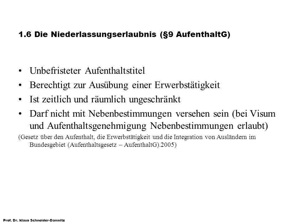 Prof. Dr. klaus Schneider-Danwitz 1.6 Die Niederlassungserlaubnis (§9 AufenthaltG) Unbefristeter Aufenthaltstitel Berechtigt zur Ausübung einer Erwerb