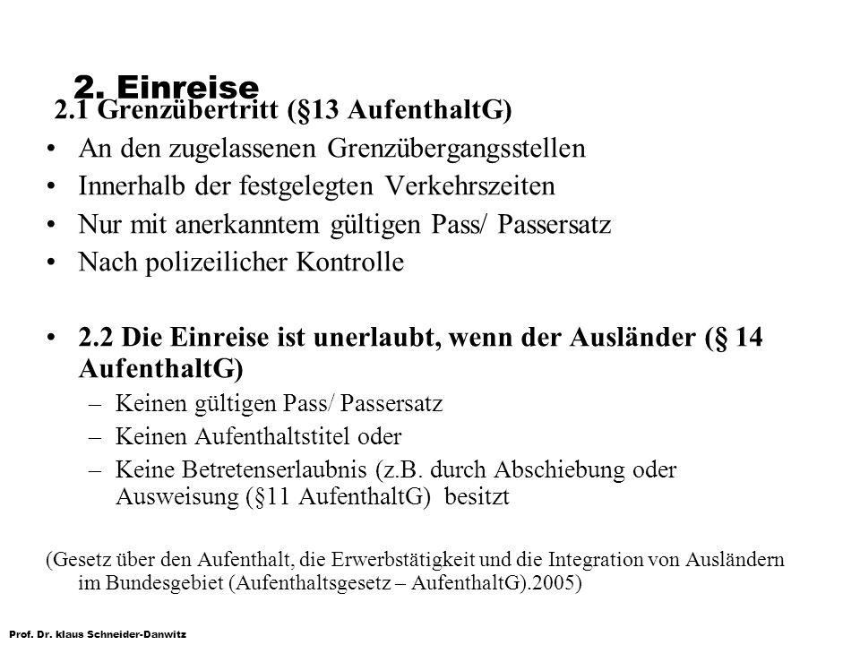 Prof. Dr. klaus Schneider-Danwitz 2. Einreise 2.1 Grenzübertritt (§13 AufenthaltG) An den zugelassenen Grenzübergangsstellen Innerhalb der festgelegte