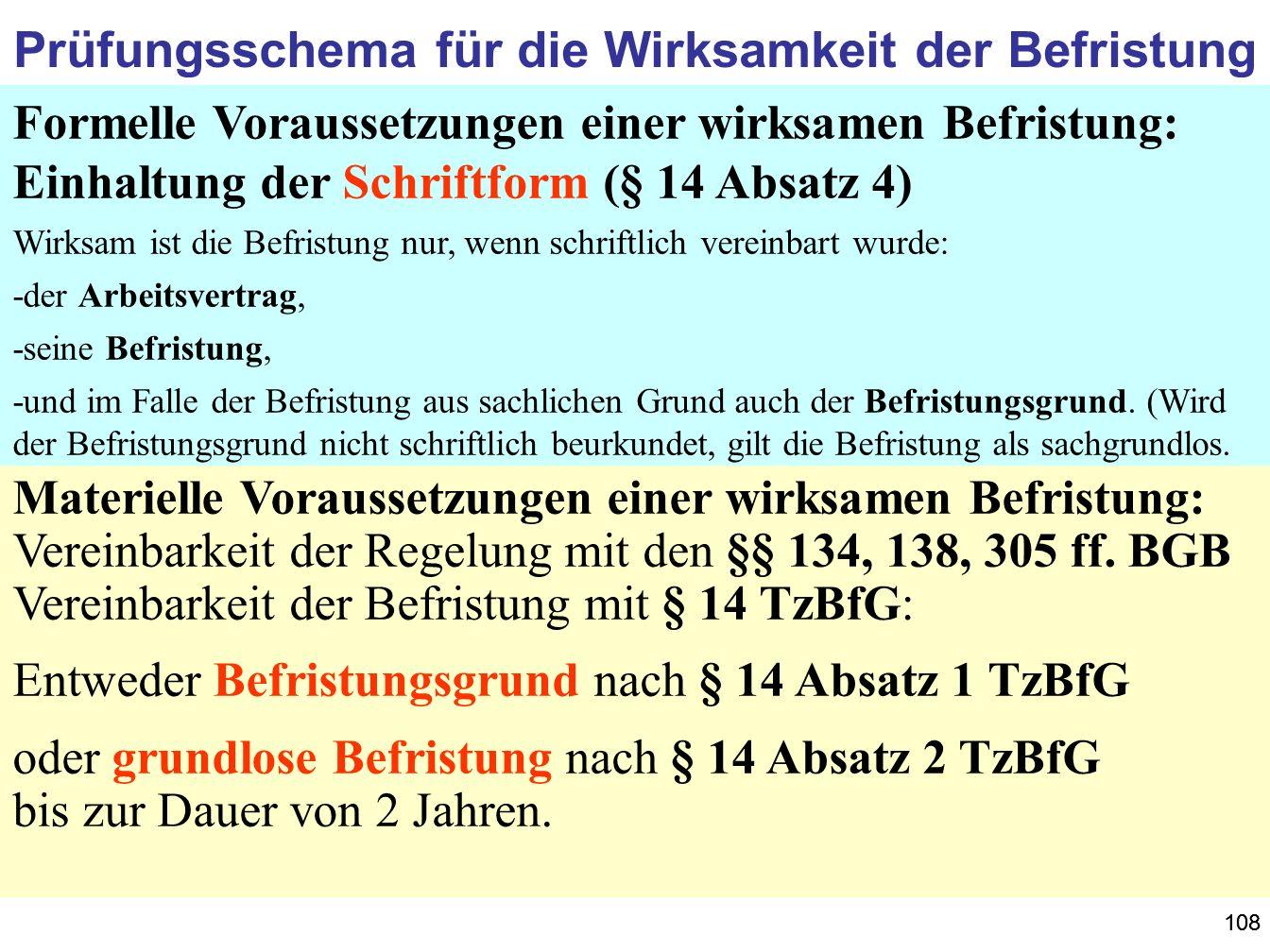 108 Prüfungsschema für die Wirksamkeit der Befristung Formelle Voraussetzungen einer wirksamen Befristung: Einhaltung der Schriftform (§ 14 Absatz 4)