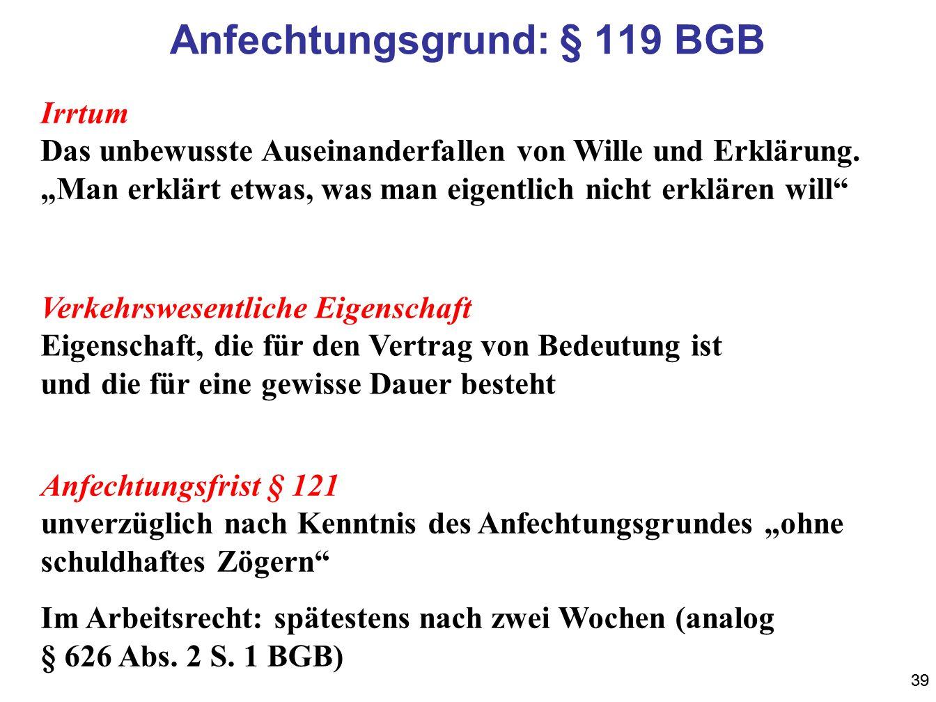 39 Anfechtungsgrund: § 119 BGB Irrtum Das unbewusste Auseinanderfallen von Wille und Erklärung. Man erklärt etwas, was man eigentlich nicht erklären w