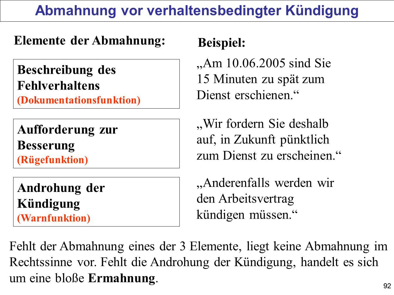 92 Beschreibung des Fehlverhaltens (Dokumentationsfunktion) Aufforderung zur Besserung (Rügefunktion) Androhung der Kündigung (Warnfunktion) Am 10.06.