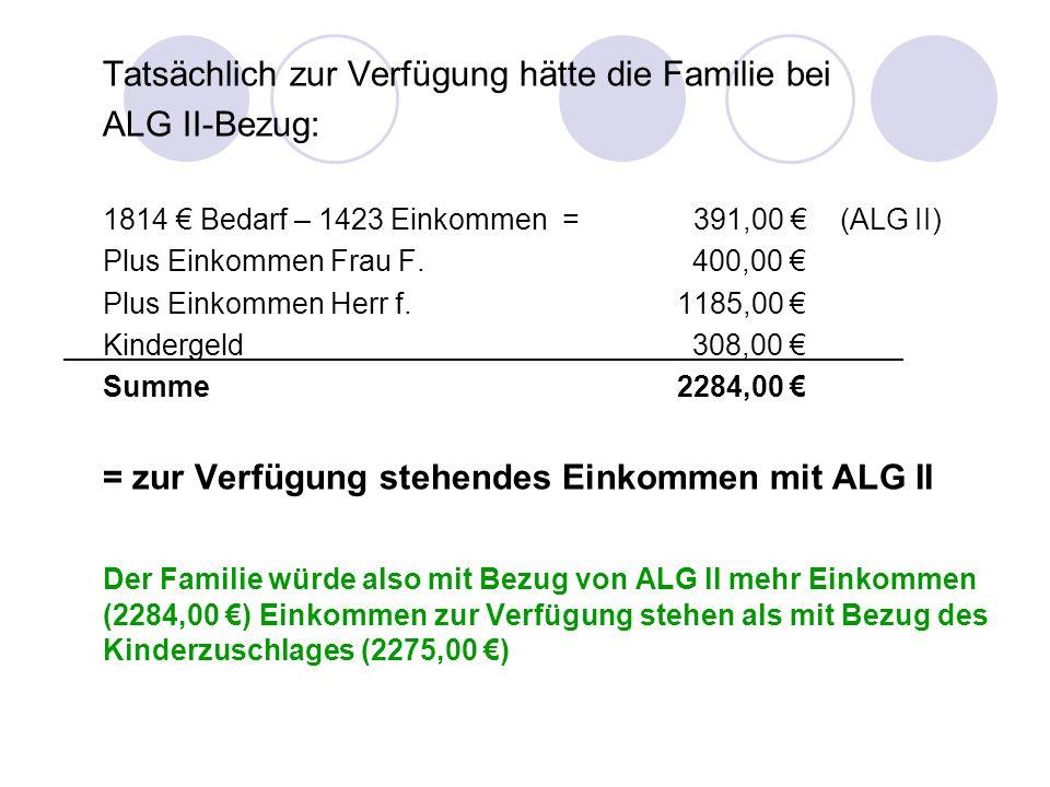 Tatsächlich zur Verfügung hätte die Familie bei ALG II-Bezug: 1814 Bedarf – 1423 Einkommen = 391,00 (ALG II) Plus Einkommen Frau F. 400,00 Plus Einkom
