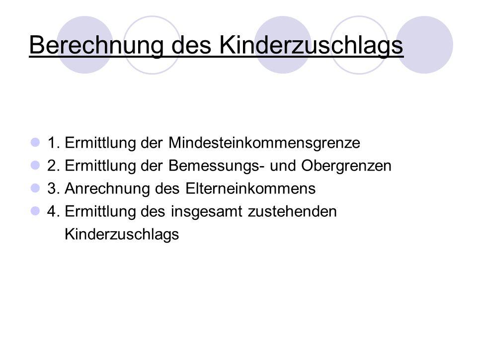 Berechnung des Kinderzuschlags 1. Ermittlung der Mindesteinkommensgrenze 2. Ermittlung der Bemessungs- und Obergrenzen 3. Anrechnung des Elterneinkomm
