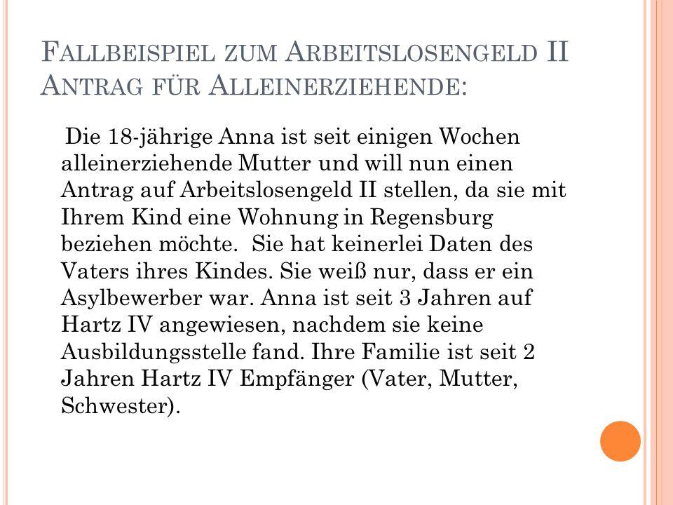 F ALLBEISPIEL ZUM A RBEITSLOSENGELD II A NTRAG FÜR A LLEINERZIEHENDE : Die 18-jährige Anna ist seit einigen Wochen alleinerziehende Mutter und will nun einen Antrag auf Arbeitslosengeld II stellen, da sie mit Ihrem Kind eine Wohnung in Regensburg beziehen möchte.