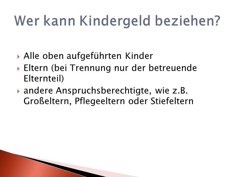 Alle oben aufgeführten Kinder Eltern (bei Trennung nur der betreuende Elternteil) andere Anspruchsberechtigte, wie z.B.
