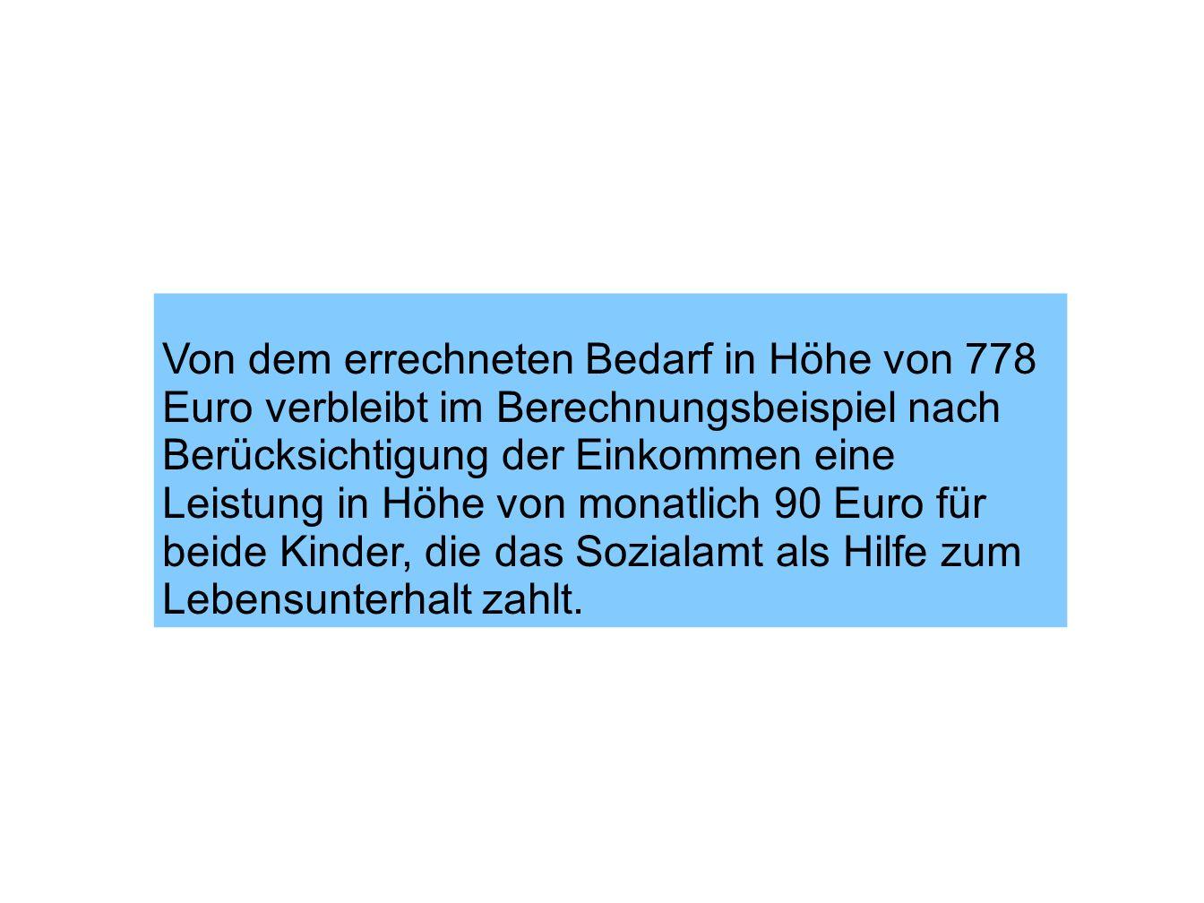 Von dem errechneten Bedarf in Höhe von 778 Euro verbleibt im Berechnungsbeispiel nach Berücksichtigung der Einkommen eine Leistung in Höhe von monatli