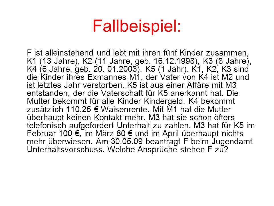 Fallbeispiel: F ist alleinstehend und lebt mit ihren fünf Kinder zusammen, K1 (13 Jahre), K2 (11 Jahre, geb. 16.12.1998), K3 (8 Jahre), K4 (6 Jahre, g