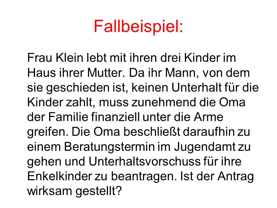 Fallbeispiel: Frau Klein lebt mit ihren drei Kinder im Haus ihrer Mutter.