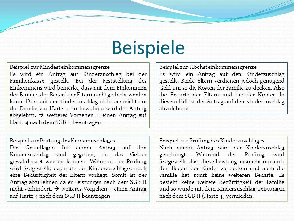 Beispiele Beispiel zur Mindesteinkommensgrenze Es wird ein Antrag auf Kinderzuschlag bei der Familienkasse gestellt. Bei der Feststellung des Einkomme