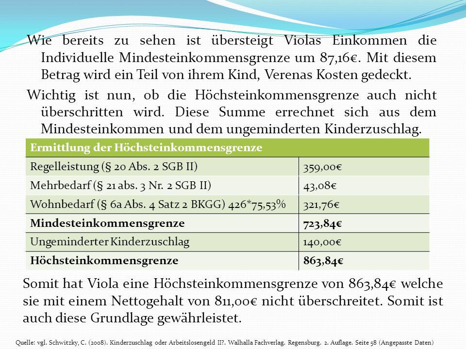 Wie bereits zu sehen ist übersteigt Violas Einkommen die Individuelle Mindesteinkommensgrenze um 87,16. Mit diesem Betrag wird ein Teil von ihrem Kind