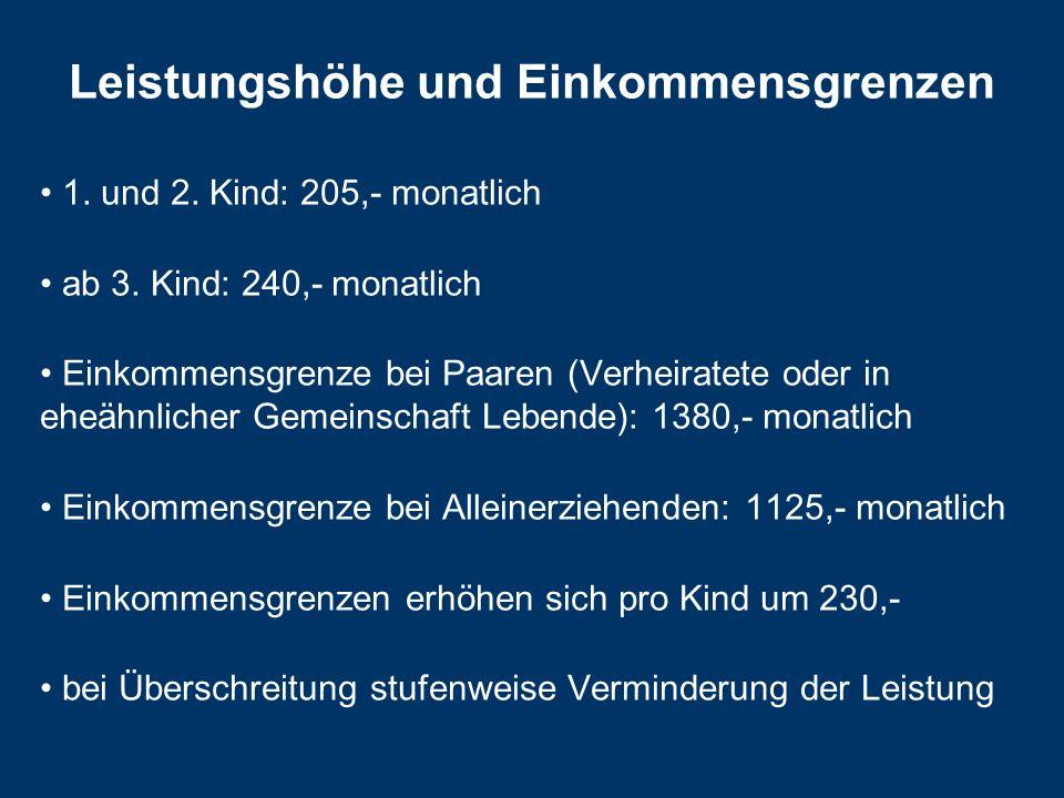 Leistungshöhe und Einkommensgrenzen 1.und 2. Kind: 205,- monatlich ab 3.