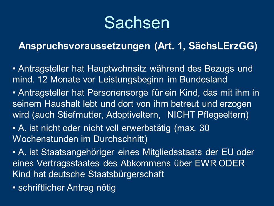 Sachsen Anspruchsvoraussetzungen (Art.