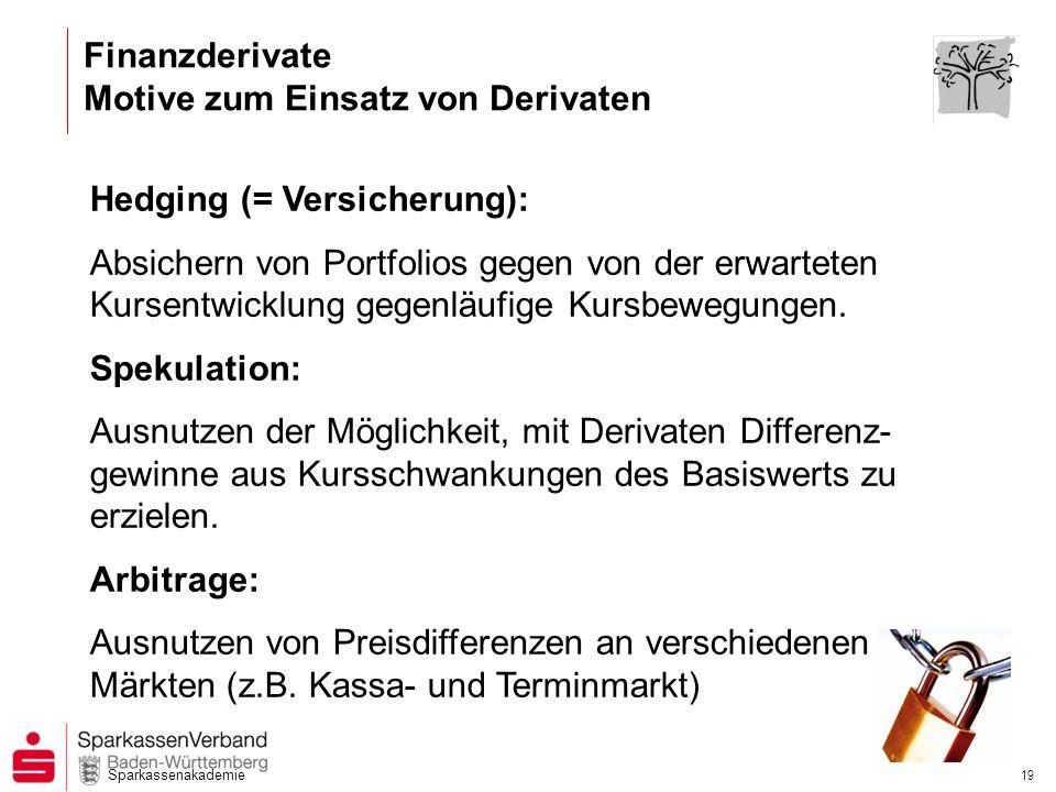 Sparkassenakademie 18 Gliederung / Übersicht 1.Einordnung / Definition 2.Historische Entwicklung 3.Grundformen von Derivaten 4.Motive zum Einsatz von Derivaten 5.Zinsderivate und deren Anwendung 6.Geschäftspolitische Aspekte