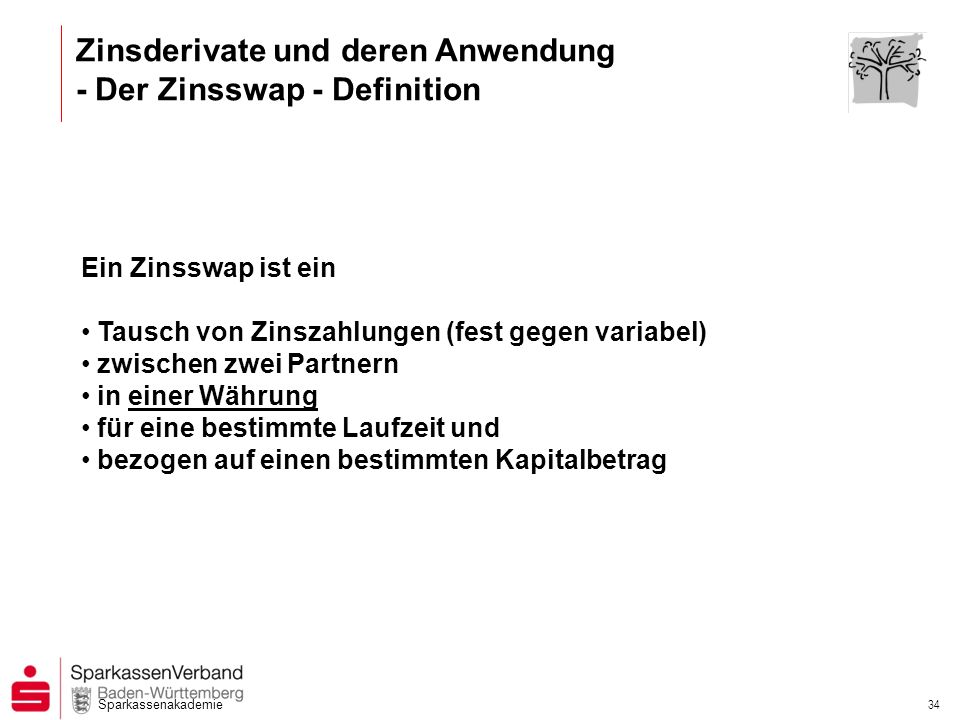 Sparkassenakademie 33 Zinsderivate und deren Anwendung - Der Zinsswap - Ihr Kunde möchte......