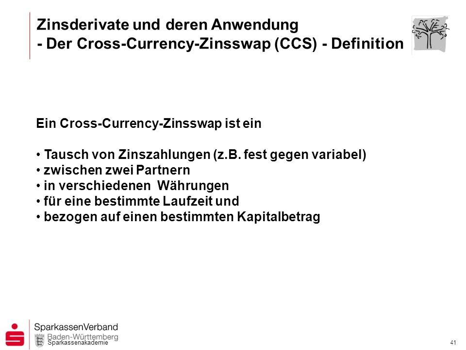 Sparkassenakademie 40 Zinsderivate und deren Anwendung - Der Cross-Currency-Zinsswap (CCS) - Ihr Kunde möchte...