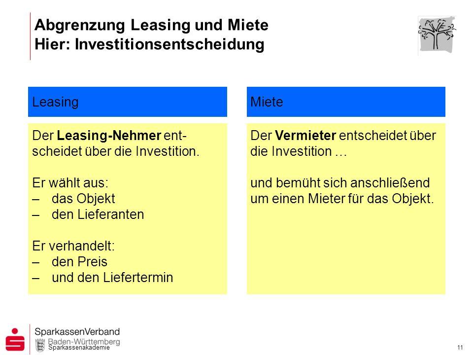 Sparkassenakademie 11 Abgrenzung Leasing und Miete Hier: Investitionsentscheidung Leasing Der Leasing-Nehmer ent- scheidet über die Investition. Er wä
