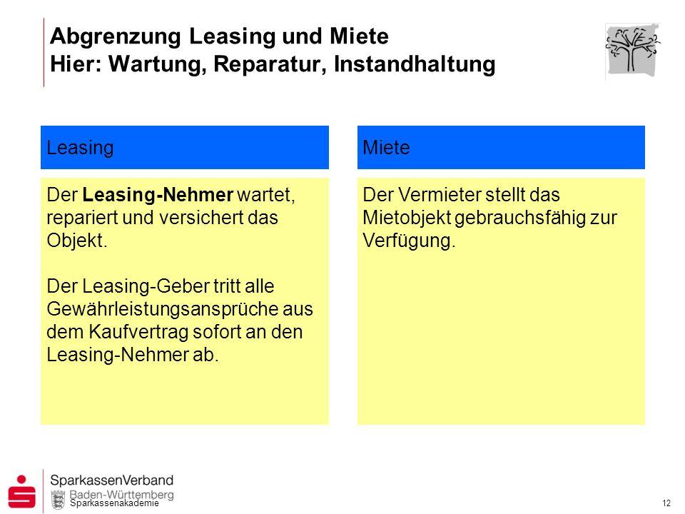 Sparkassenakademie 12 Abgrenzung Leasing und Miete Hier: Wartung, Reparatur, Instandhaltung Leasing Der Leasing-Nehmer wartet, repariert und versicher