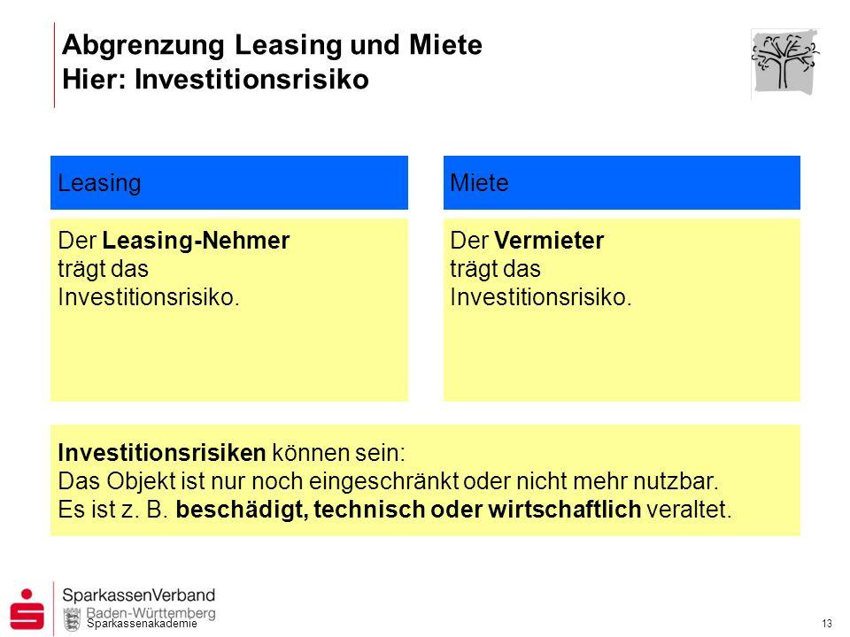 Sparkassenakademie 13 Abgrenzung Leasing und Miete Hier: Investitionsrisiko Leasing Der Leasing-Nehmer trägt das Investitionsrisiko. Der Vermieter trä