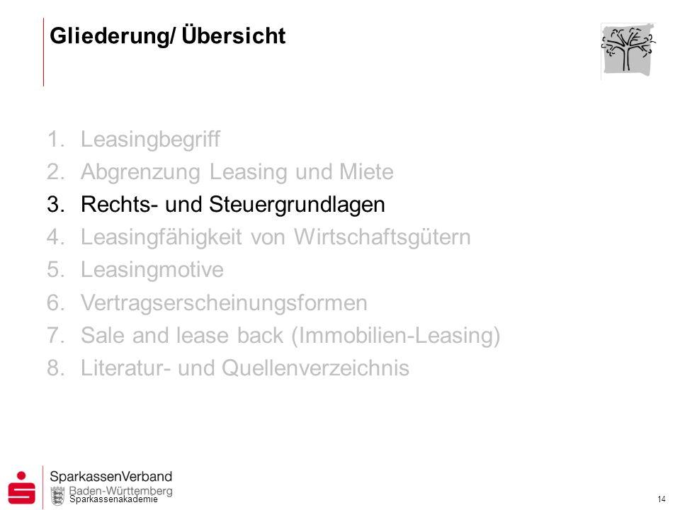 Sparkassenakademie 14 1.Leasingbegriff 2.Abgrenzung Leasing und Miete 3.Rechts- und Steuergrundlagen 4.Leasingfähigkeit von Wirtschaftsgütern 5.Leasin