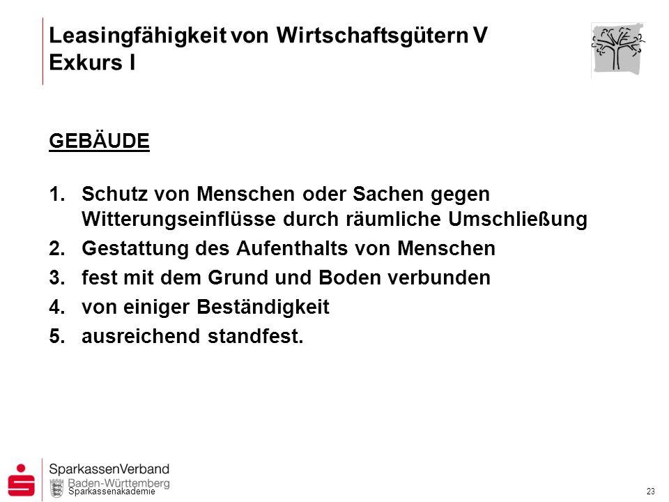 Sparkassenakademie 23 GEBÄUDE 1.Schutz von Menschen oder Sachen gegen Witterungseinflüsse durch räumliche Umschließung 2.Gestattung des Aufenthalts vo