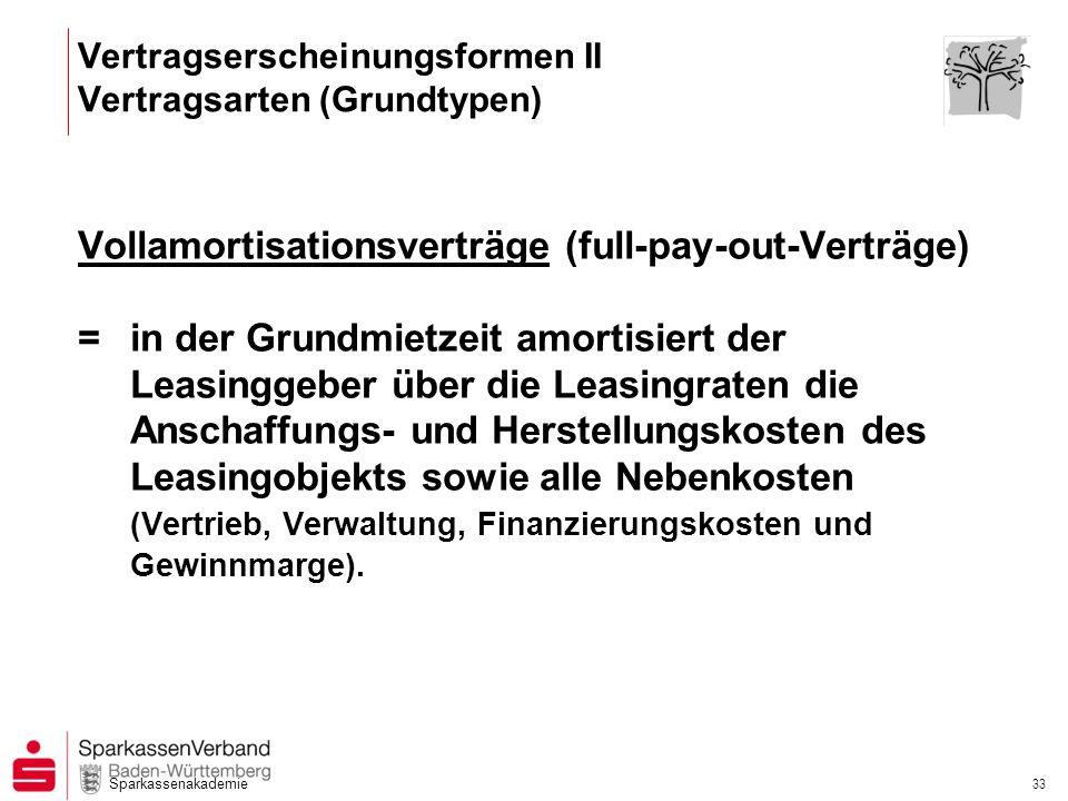 Sparkassenakademie 33 Vollamortisationsverträge (full-pay-out-Verträge) =in der Grundmietzeit amortisiert der Leasinggeber über die Leasingraten die A
