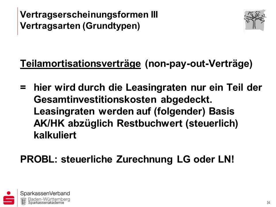Sparkassenakademie 34 Teilamortisationsverträge (non-pay-out-Verträge) =hier wird durch die Leasingraten nur ein Teil der Gesamtinvestitionskosten abg