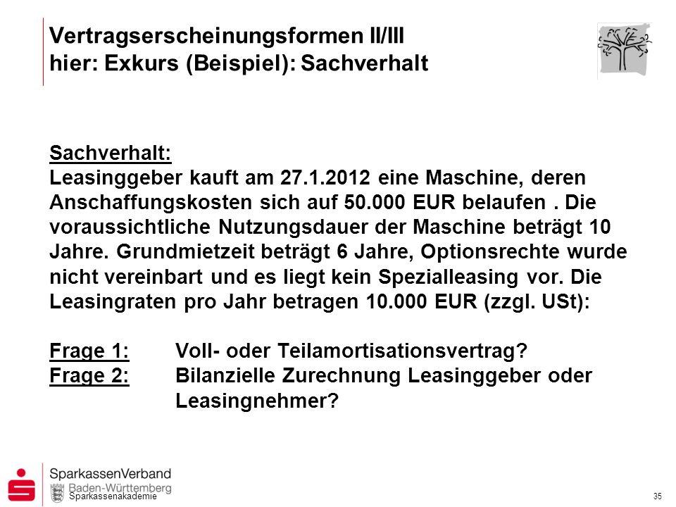 Sparkassenakademie 35 Sachverhalt: Leasinggeber kauft am 27.1.2012 eine Maschine, deren Anschaffungskosten sich auf 50.000 EUR belaufen. Die voraussic
