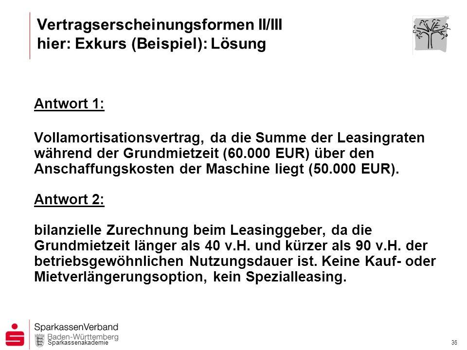 Sparkassenakademie 36 Antwort 1: Vollamortisationsvertrag, da die Summe der Leasingraten während der Grundmietzeit (60.000 EUR) über den Anschaffungsk