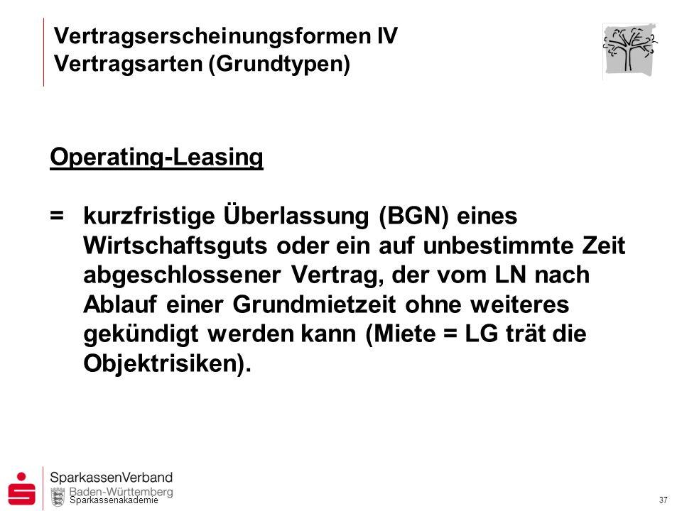 Sparkassenakademie 37 Operating-Leasing =kurzfristige Überlassung (BGN) eines Wirtschaftsguts oder ein auf unbestimmte Zeit abgeschlossener Vertrag, d