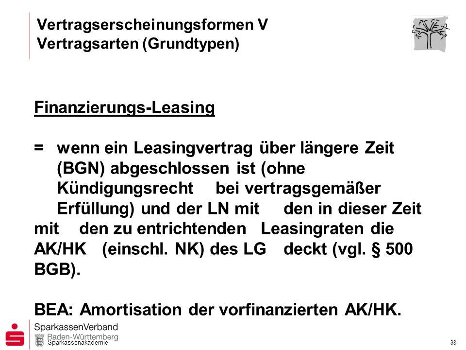 Sparkassenakademie 38 Finanzierungs-Leasing =wenn ein Leasingvertrag über längere Zeit (BGN) abgeschlossen ist (ohne Kündigungsrecht bei vertragsgemäß