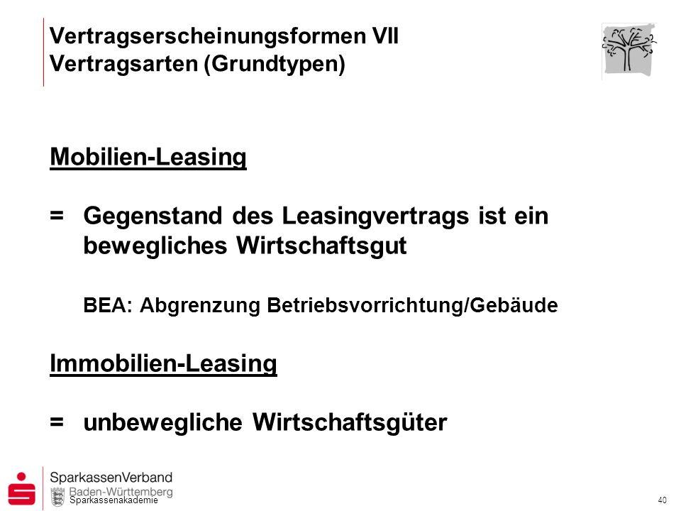 Sparkassenakademie 40 Mobilien-Leasing =Gegenstand des Leasingvertrags ist ein bewegliches Wirtschaftsgut BEA: Abgrenzung Betriebsvorrichtung/Gebäude