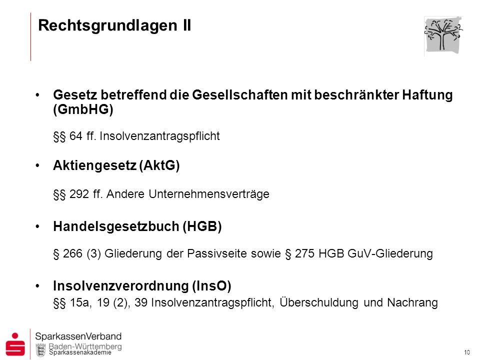 Sparkassenakademie 10 Rechtsgrundlagen II Gesetz betreffend die Gesellschaften mit beschränkter Haftung (GmbHG) §§ 64 ff. Insolvenzantragspflicht Akti