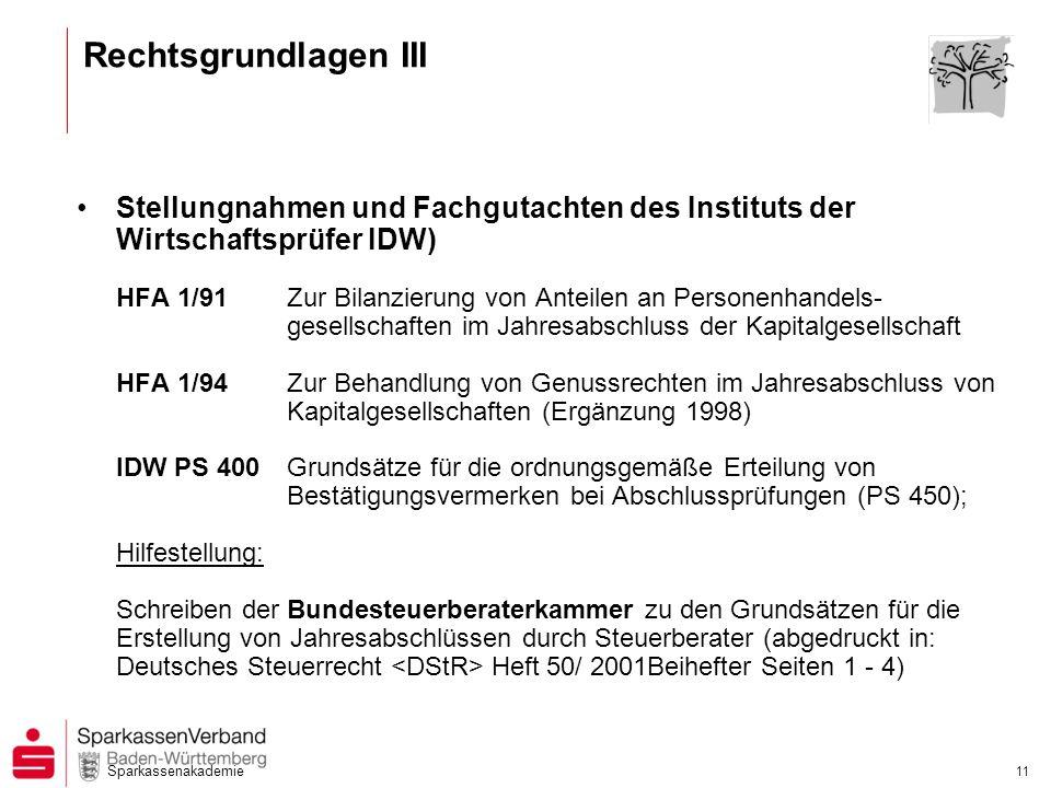 Sparkassenakademie 11 Rechtsgrundlagen III Stellungnahmen und Fachgutachten des Instituts der Wirtschaftsprüfer IDW) HFA 1/91Zur Bilanzierung von Ante