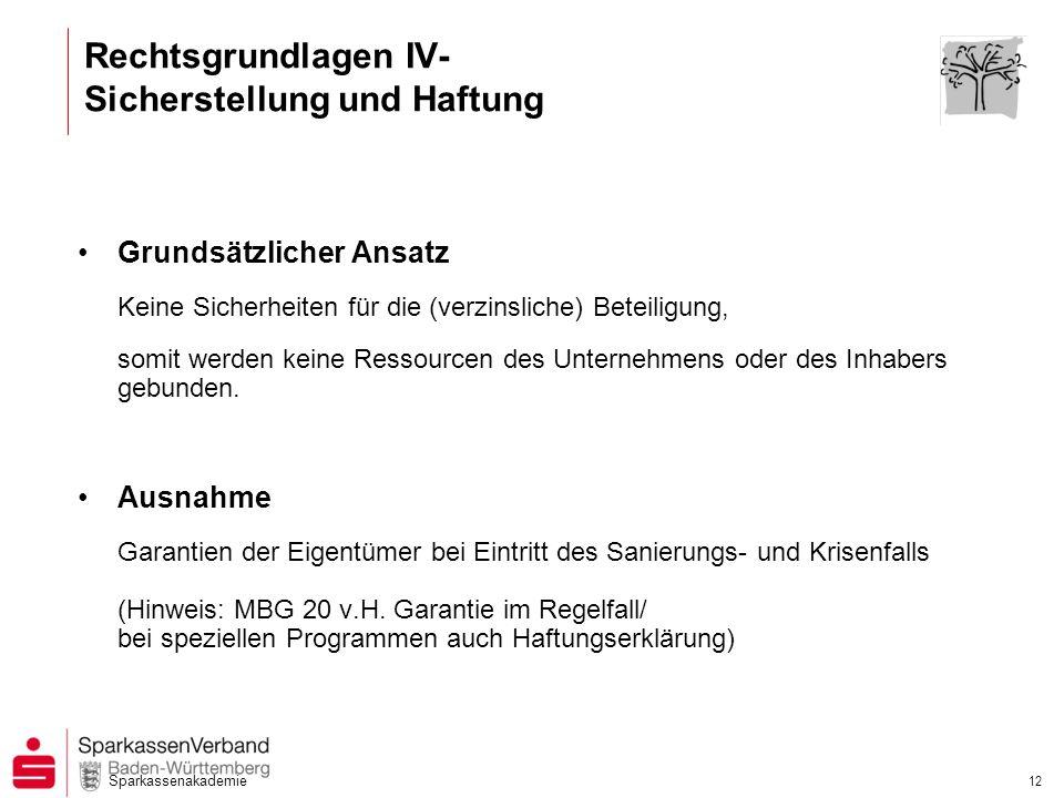 Sparkassenakademie 12 Rechtsgrundlagen IV- Sicherstellung und Haftung Grundsätzlicher Ansatz Keine Sicherheiten für die (verzinsliche) Beteiligung, so