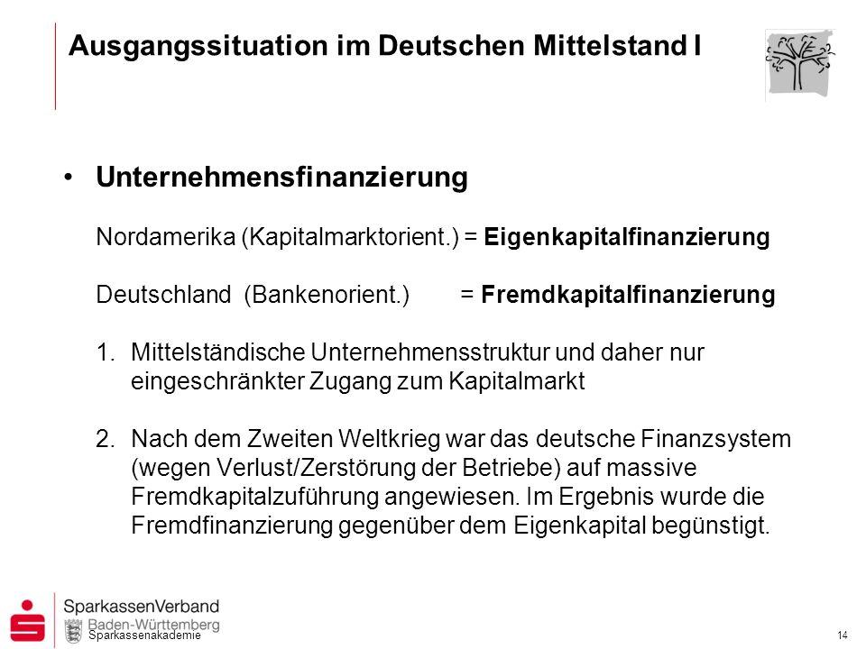 Sparkassenakademie 14 Ausgangssituation im Deutschen Mittelstand I Unternehmensfinanzierung Nordamerika (Kapitalmarktorient.) = Eigenkapitalfinanzieru
