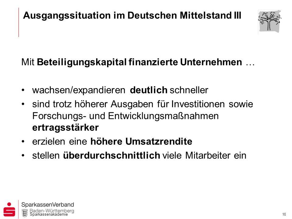 Sparkassenakademie 16 Ausgangssituation im Deutschen Mittelstand III Mit Beteiligungskapital finanzierte Unternehmen … wachsen/expandieren deutlich sc