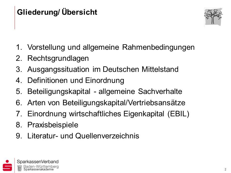 Sparkassenakademie 2 1.Vorstellung und allgemeine Rahmenbedingungen 2.Rechtsgrundlagen 3.Ausgangssituation im Deutschen Mittelstand 4.Definitionen und