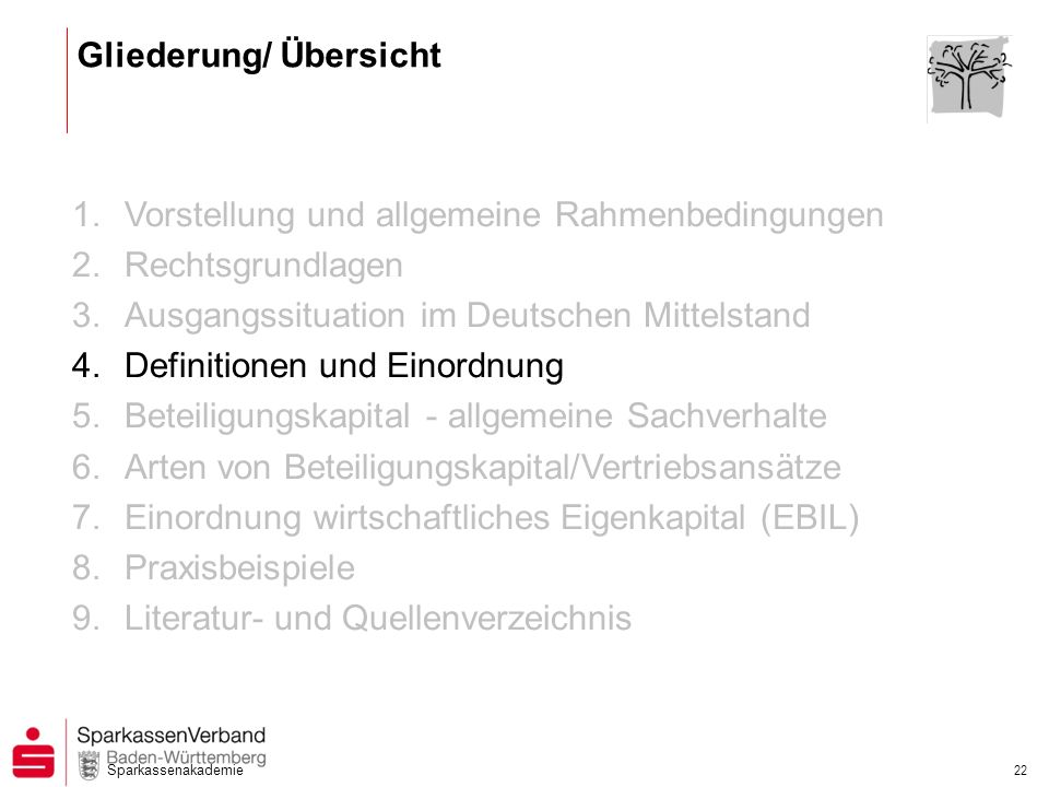 Sparkassenakademie 22 1.Vorstellung und allgemeine Rahmenbedingungen 2.Rechtsgrundlagen 3.Ausgangssituation im Deutschen Mittelstand 4.Definitionen un