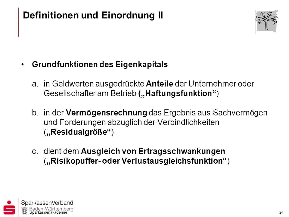 Sparkassenakademie 24 Definitionen und Einordnung II Grundfunktionen des Eigenkapitals a.in Geldwerten ausgedrückte Anteile der Unternehmer oder Gesel