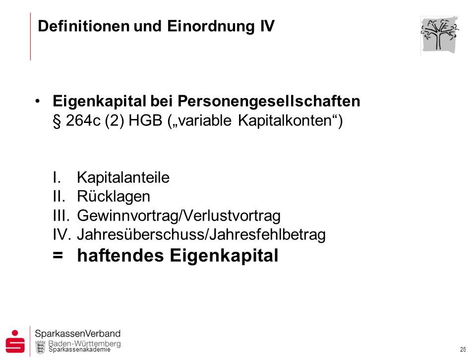 Sparkassenakademie 26 Eigenkapital bei Personengesellschaften § 264c (2) HGB (variable Kapitalkonten) I.Kapitalanteile II.Rücklagen III.Gewinnvortrag/