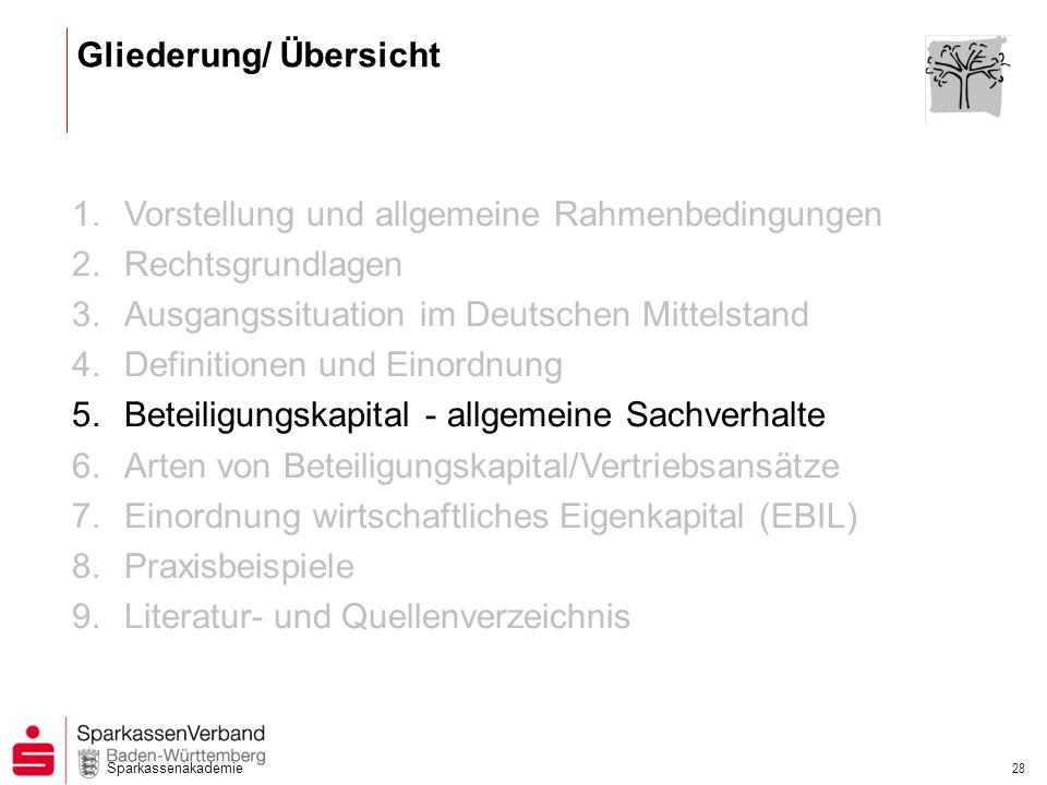 Sparkassenakademie 28 1.Vorstellung und allgemeine Rahmenbedingungen 2.Rechtsgrundlagen 3.Ausgangssituation im Deutschen Mittelstand 4.Definitionen un