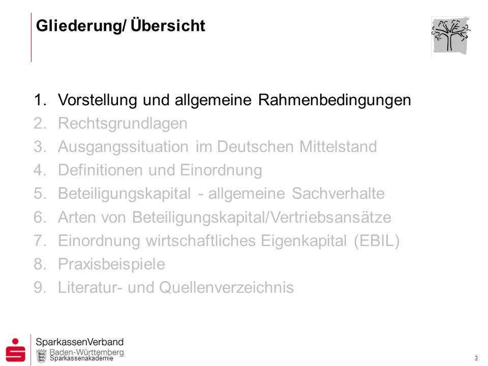 Sparkassenakademie 3 1.Vorstellung und allgemeine Rahmenbedingungen 2.Rechtsgrundlagen 3.Ausgangssituation im Deutschen Mittelstand 4.Definitionen und