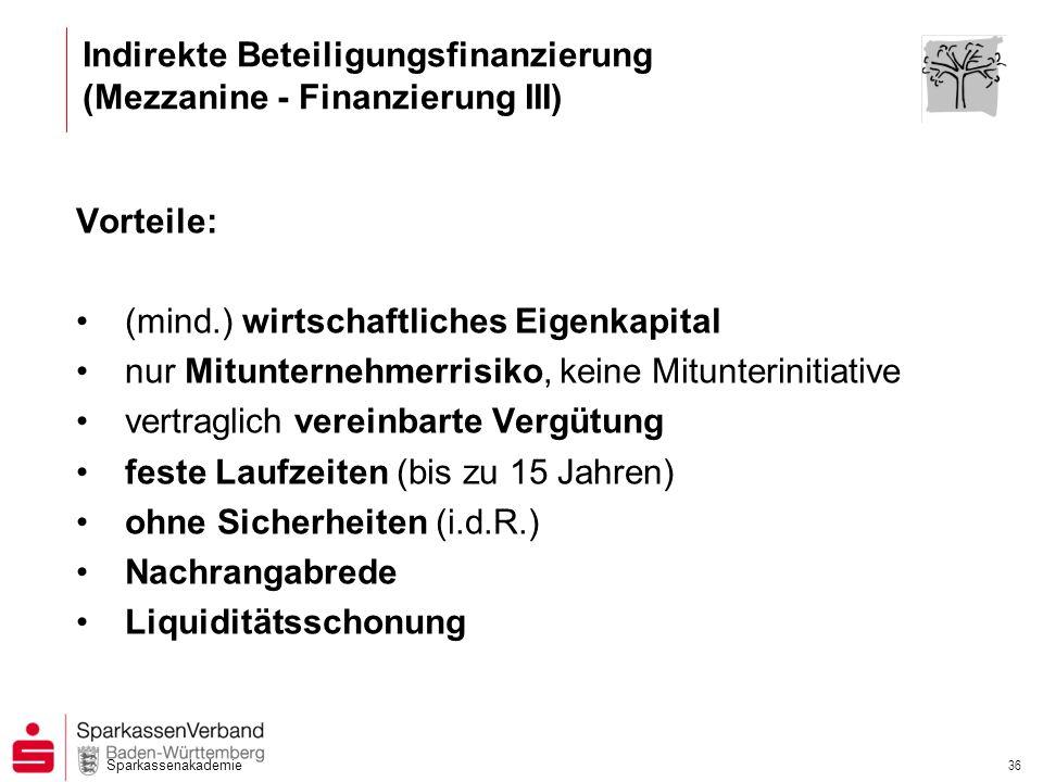 Sparkassenakademie 36 Indirekte Beteiligungsfinanzierung (Mezzanine - Finanzierung III) Vorteile: (mind.) wirtschaftliches Eigenkapital nur Mitunterne