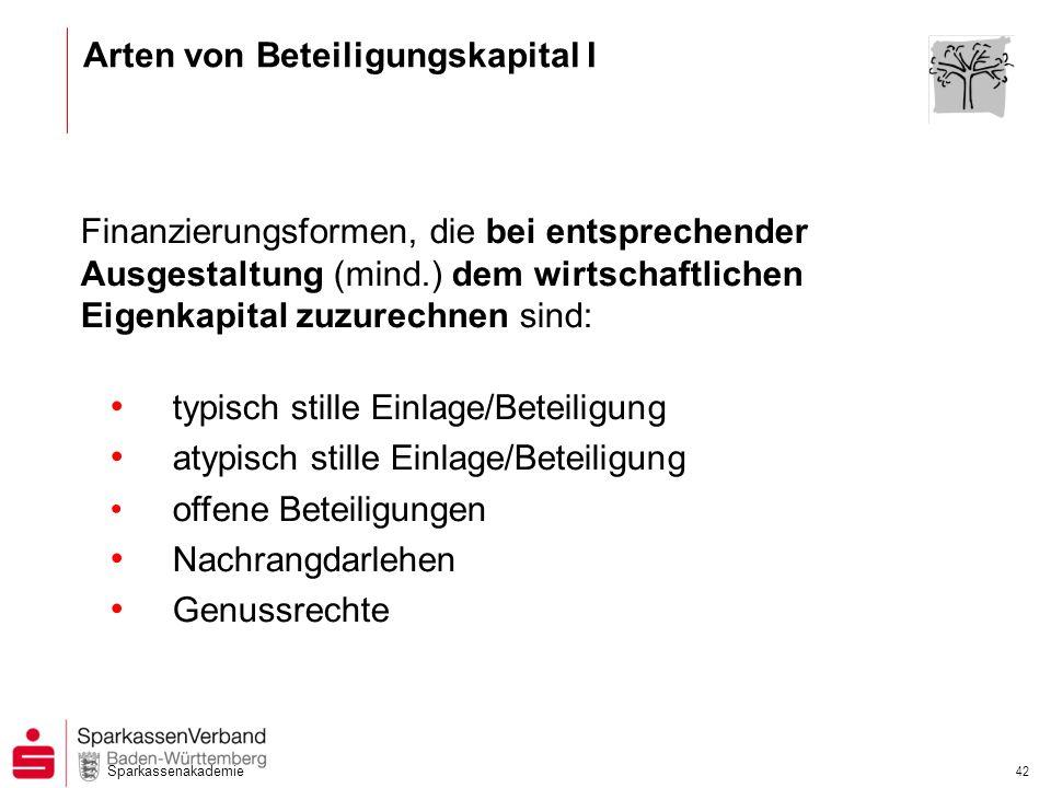 Sparkassenakademie 42 Finanzierungsformen, die bei entsprechender Ausgestaltung (mind.) dem wirtschaftlichen Eigenkapital zuzurechnen sind: typisch st