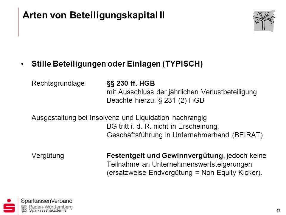 Sparkassenakademie 43 Stille Beteiligungen oder Einlagen (TYPISCH) Rechtsgrundlage §§ 230 ff. HGB mit Ausschluss der jährlichen Verlustbeteiligung Bea