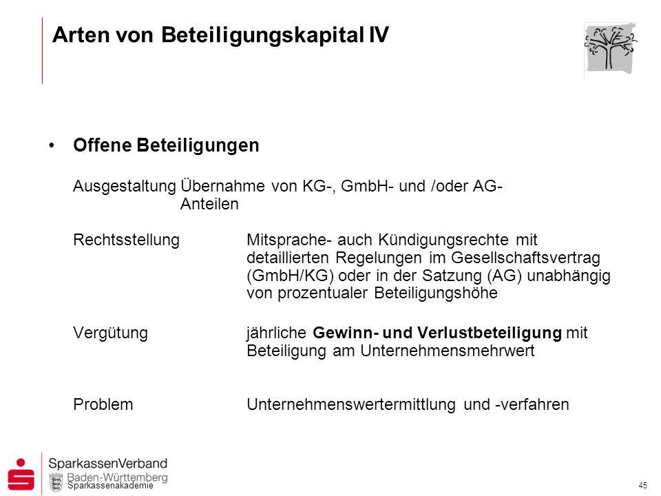 Sparkassenakademie 45 Offene Beteiligungen AusgestaltungÜbernahme von KG-, GmbH- und /oder AG- Anteilen RechtsstellungMitsprache- auch Kündigungsrecht