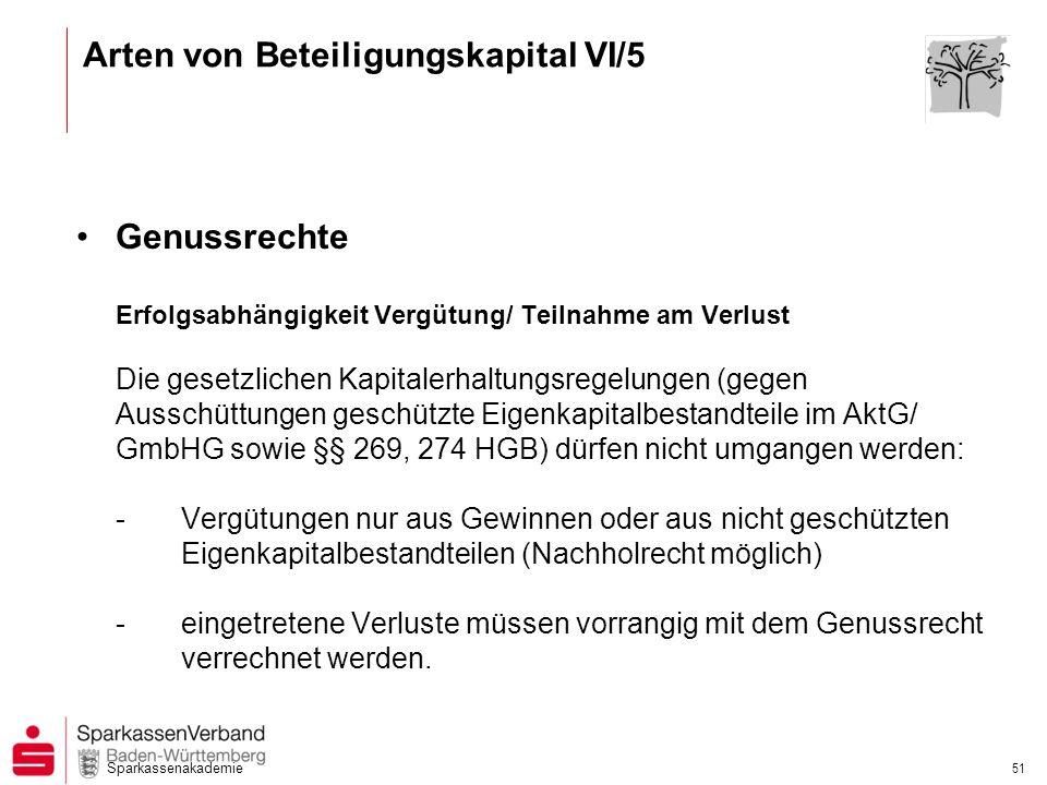 Sparkassenakademie 51 Genussrechte Erfolgsabhängigkeit Vergütung/ Teilnahme am Verlust Die gesetzlichen Kapitalerhaltungsregelungen (gegen Ausschüttun