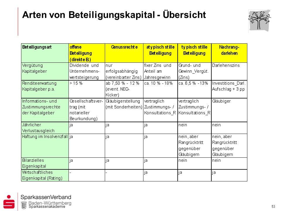 Sparkassenakademie 53 Arten von Beteiligungskapital - Übersicht
