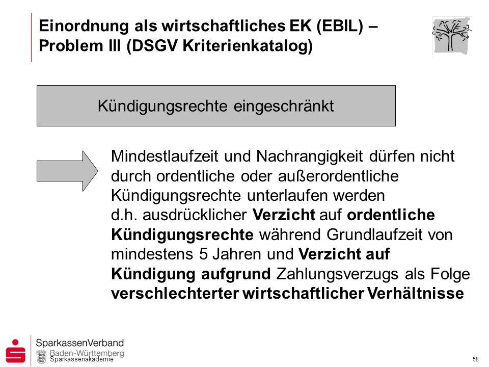Sparkassenakademie 58 Kündigungsrechte eingeschränkt Mindestlaufzeit und Nachrangigkeit dürfen nicht durch ordentliche oder außerordentliche Kündigung