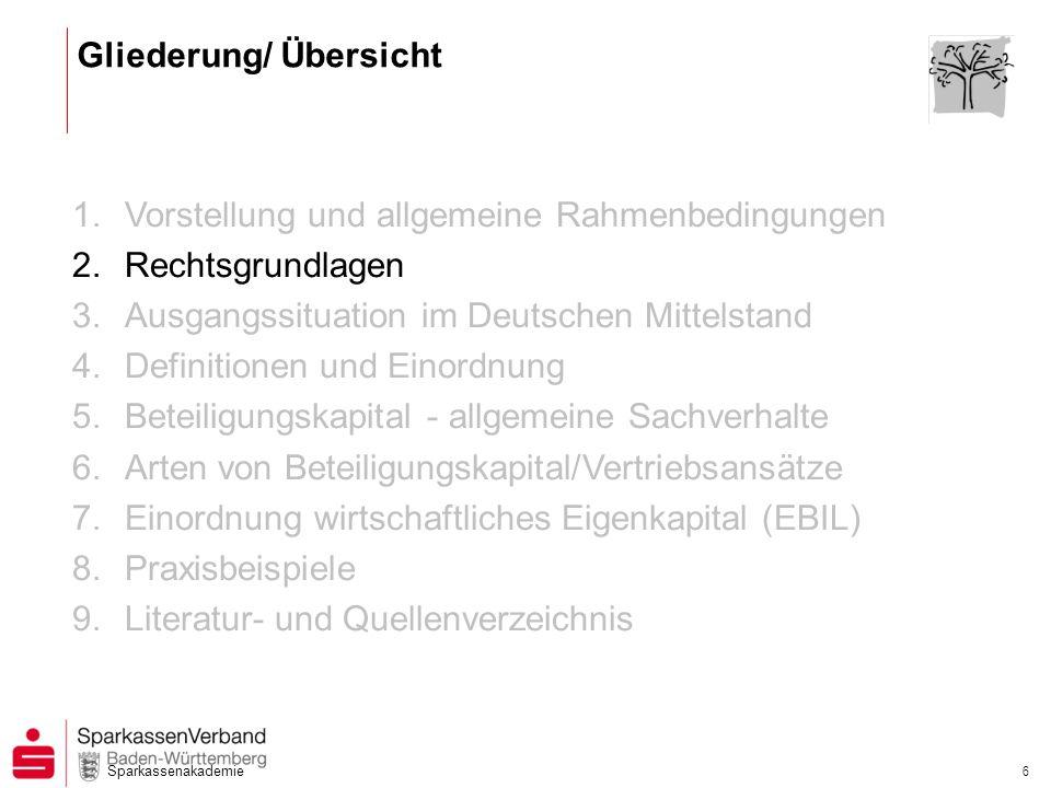 Sparkassenakademie 6 1.Vorstellung und allgemeine Rahmenbedingungen 2.Rechtsgrundlagen 3.Ausgangssituation im Deutschen Mittelstand 4.Definitionen und